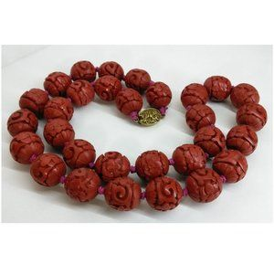 Vintage Chinese Cinnabar Bead Necklace